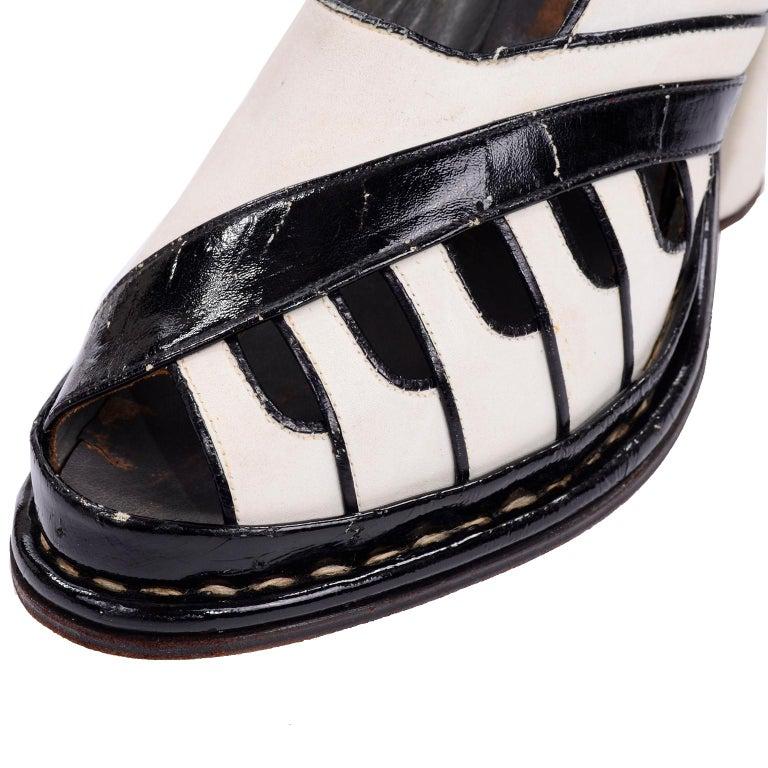 Brazilian Leather 1940s Novelty Peep Toe Platform Heels Piano Key Vintage Shoes For Sale 1