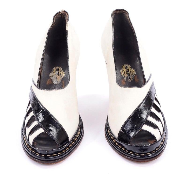 Brazilian Leather 1940s Novelty Peep Toe Platform Heels Piano Key Vintage Shoes For Sale 2