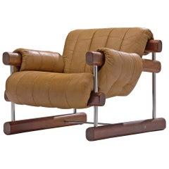 Brazilian Lounge Chair in Brown Alcantara