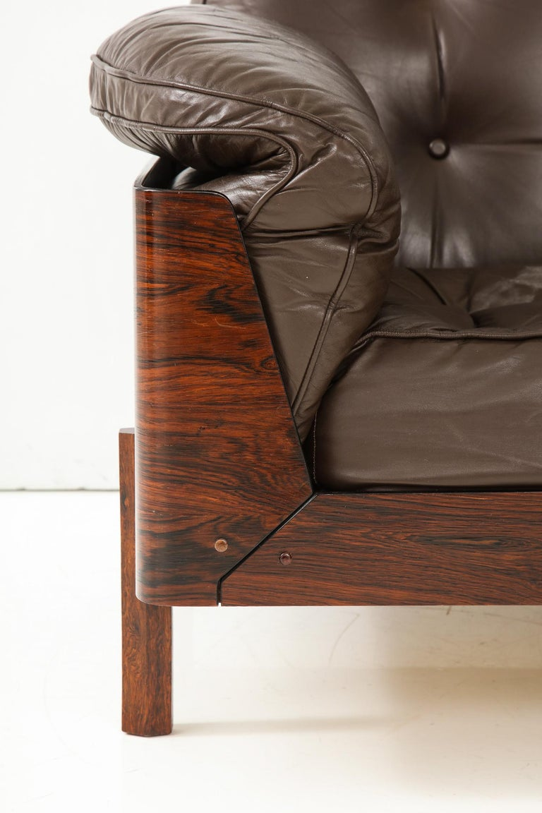 Lounge Chair in Jacaranda and Brown Leather by J.D. Moveis e Decoracoes For Sale 2