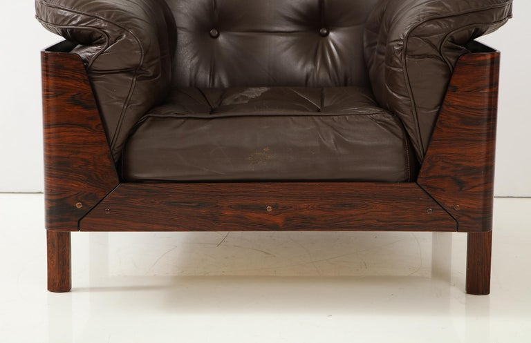 Brazilian Lounge Chair in Jacaranda and Brown Leather For Sale 7