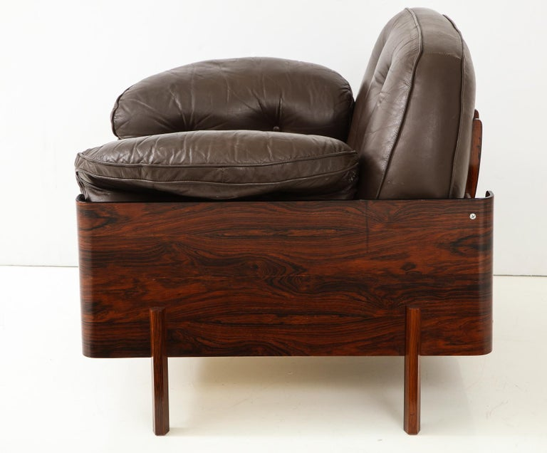 Brazilian  Lounge Chair in Jacaranda and Brown Leather by J.D. Moveis e Decoracoes For Sale