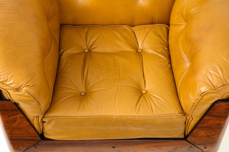 Lounge Chair in Jacaranda and Yellow Leather by J.D. Moveis e Decoracoes For Sale 5