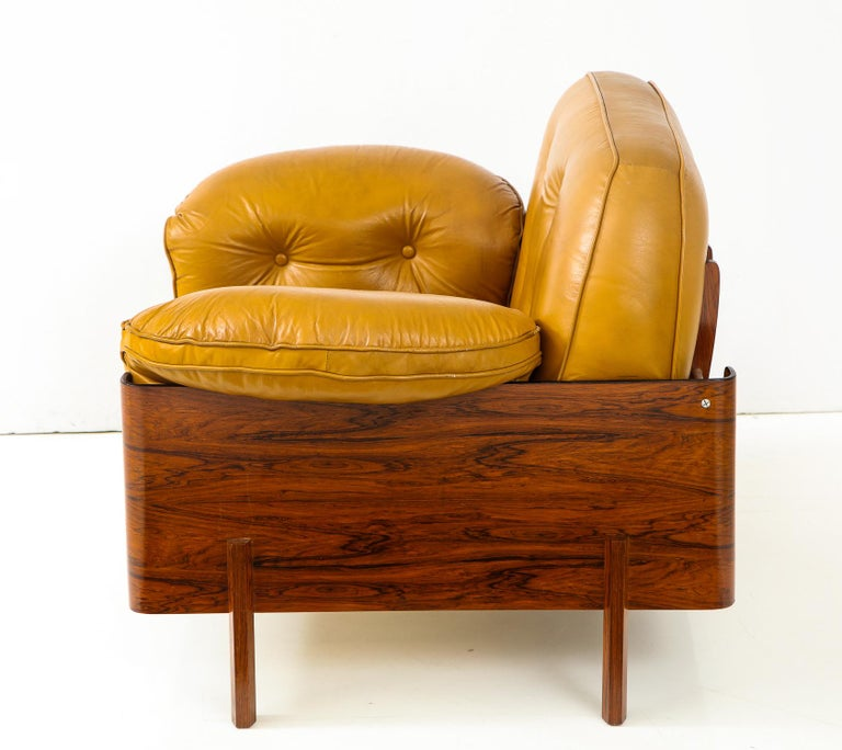 Brazilian  Lounge Chair in Jacaranda and Yellow Leather by J.D. Moveis e Decoracoes For Sale