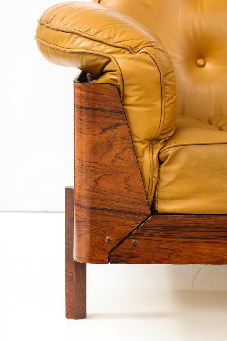 Lounge Chair in Jacaranda and Yellow Leather by J.D. Moveis e Decoracoes For Sale 1