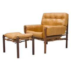 Brazilian Lounge Chair with Ottoman in Cognac Brown Leather, 1970s