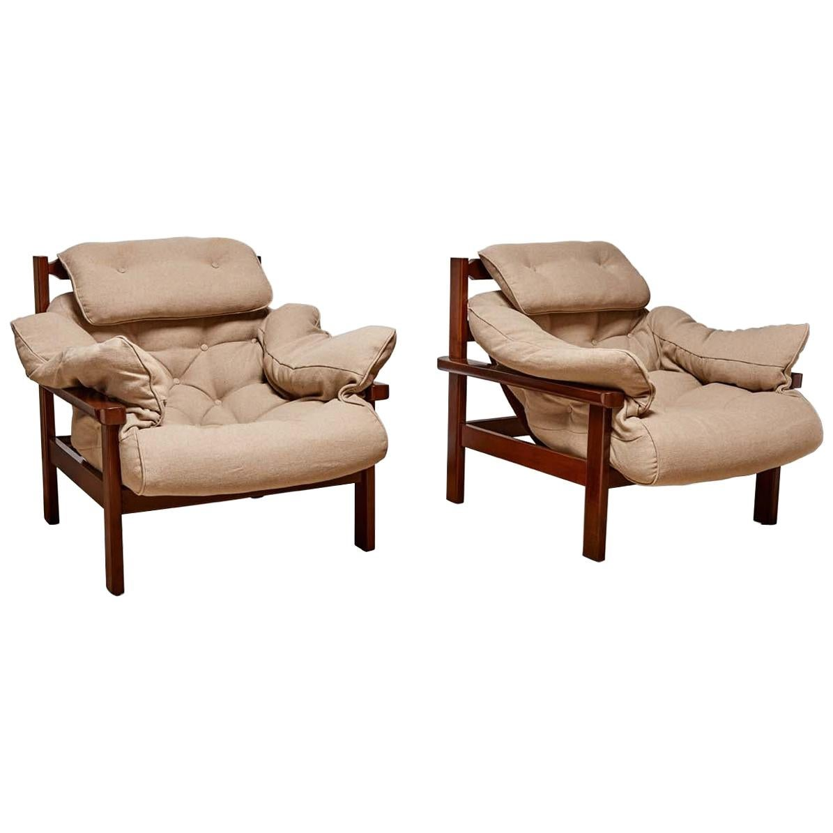 Brazilian Lounge Chairs and Ottoman in the Style of Jean Gillon
