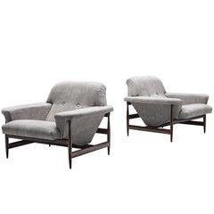 Brazilian Lounge Chairs in Grey Fabric, circa 1960