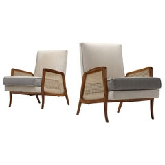 Brazilian Lounge Chairs with Caviuna, Cane and Upholstery