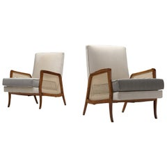 Brazilian Lounge Chairs with Mahogany, Cane and Upholstery