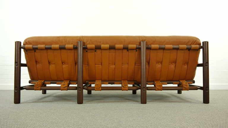 Brazilian Lounge Sofa in Cognac Leather, 1970s For Sale 5