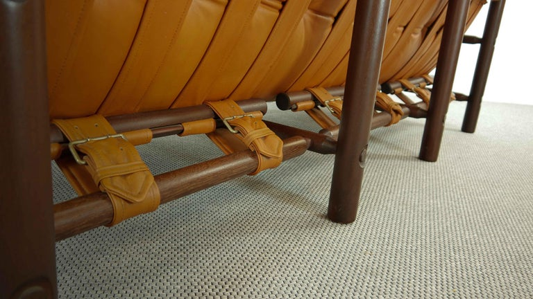 Brazilian Lounge Sofa in Cognac Leather, 1970s For Sale 8