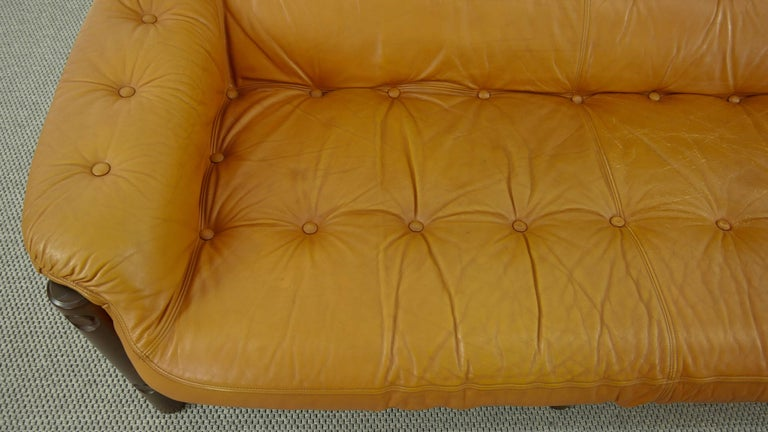 Brazilian Lounge Sofa in Cognac Leather, 1970s For Sale 9