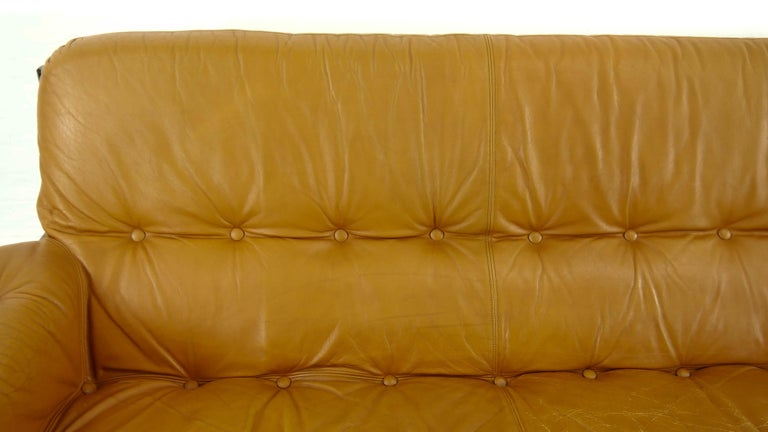 Brazilian Lounge Sofa in Cognac Leather, 1970s For Sale 11