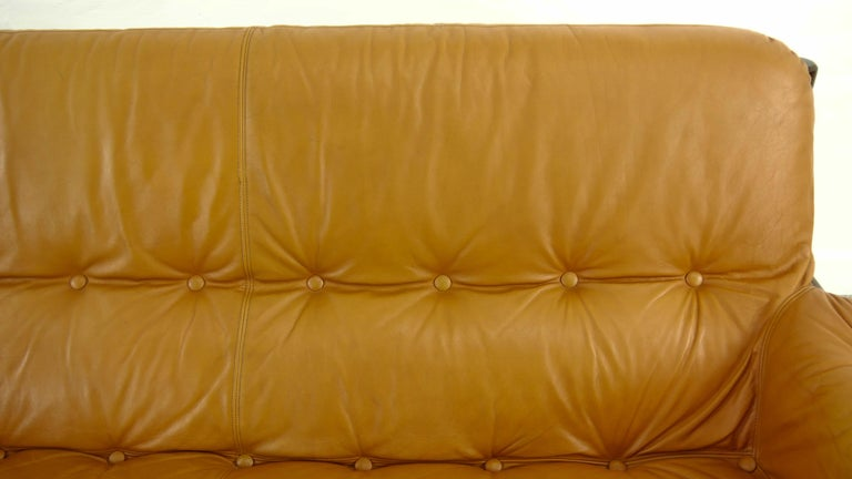 Brazilian Lounge Sofa in Cognac Leather, 1970s For Sale 12
