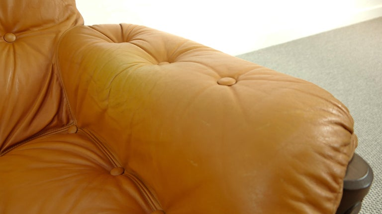 Brazilian Lounge Sofa in Cognac Leather, 1970s For Sale 13