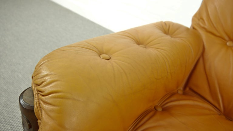 Brazilian Lounge Sofa in Cognac Leather, 1970s For Sale 14