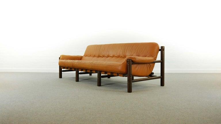 Mid-Century Modern Brazilian Lounge Sofa in Cognac Leather, 1970s For Sale
