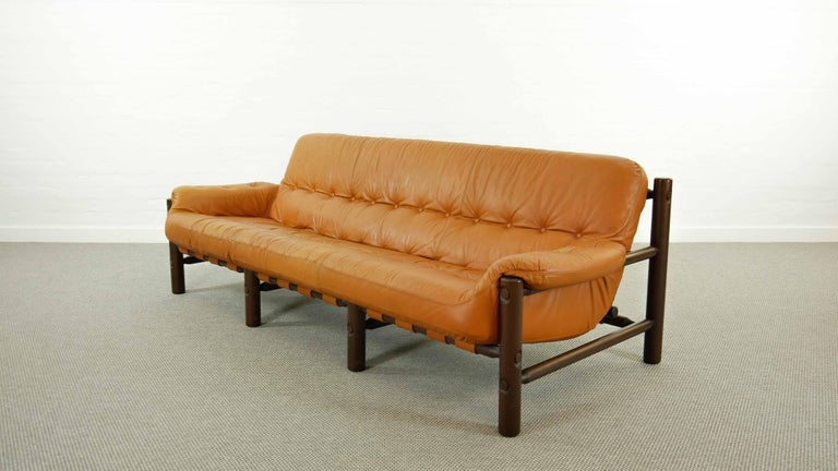 20th Century Brazilian Lounge Sofa in Cognac Leather, 1970s For Sale