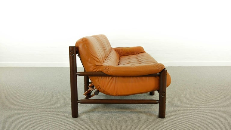Brazilian Lounge Sofa in Cognac Leather, 1970s For Sale 1