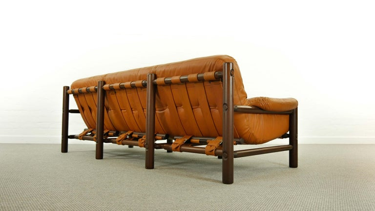 Brazilian Lounge Sofa in Cognac Leather, 1970s For Sale 2