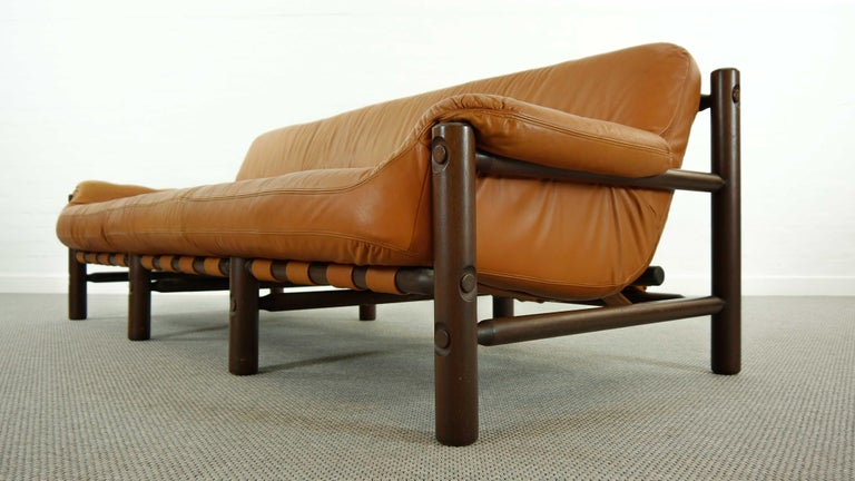 Brazilian Lounge Sofa in Cognac Leather, 1970s For Sale 3