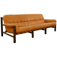 Brazilian Lounge Sofa in Teak, Cognac Leather, 1970s
