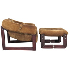 Brazilian Mid-Century Modern Armchair and Ottoman by Percival Lafer in Chocolate