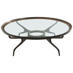 Brazilian Mid-Century Modern Coffee Table in Wood and Glass Top