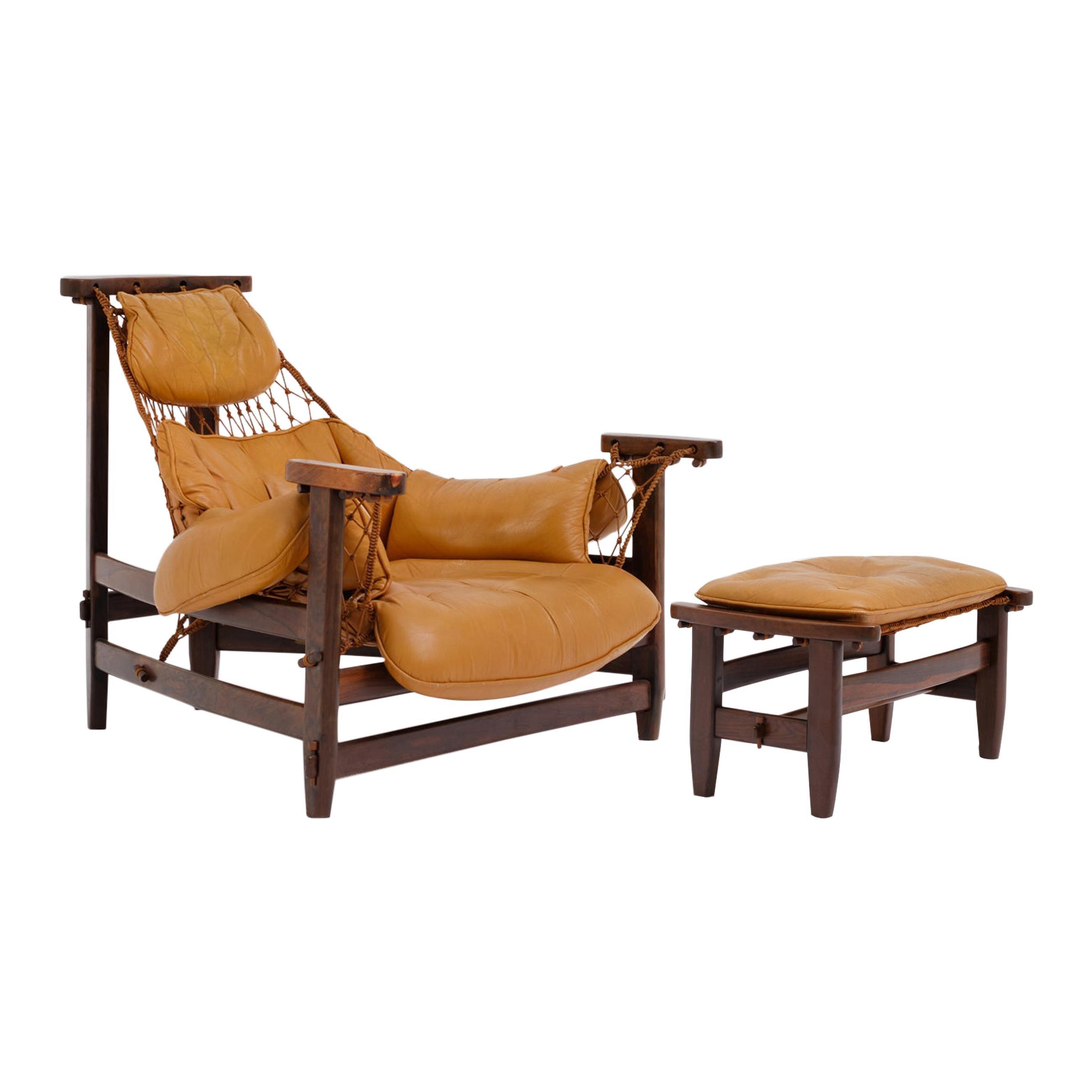 Brazilian Mid-Century Modern 'Jangada' Lounge Chair and Ottoman by Jean Gillon