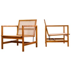 Brazilian Mid-Century Modern Lounge Chairs in Hardwood and Natural Cane