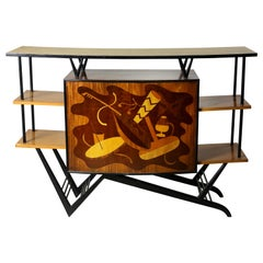 Brazilian Mid-Century Modern Musical Theme Marquetry Dry Bar, Brazil, 1950s