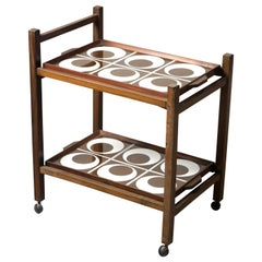 Brazilian Mid-Century Modern Tile and Hardwood Tea-Cart, Brazil, 1960s