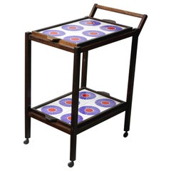 Brazilian Mid-Century Modern Tiled Tea-Cart with Removable Trays, Brazil, 1960s