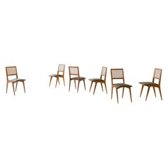 Brazilian Midcentury Design, Caviuna and Cane Dining Chairs, 1950s