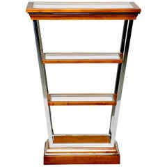 Brazilian Midcentury Teak and Chrome Three Shelf Étagère