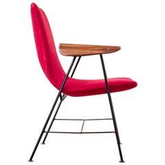 Brazilian Modern Armchair in Iron & Hardwood, Designed by Carlo Hauner