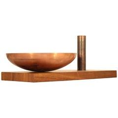 "Brazilian modern Fruit Bowl ""Utopia"", in Wood and Copper, Brazil"