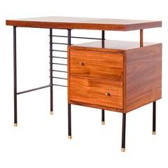 Brazilian Modern Iron & Hardwood Petite Desk in the Manner of Geraldo de Barros
