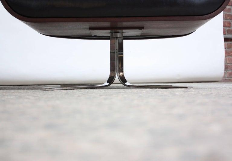 Brazilian Modern Jacaranda and Leather Swiveling Lounge Chair by Jorge Zalszupin For Sale 14