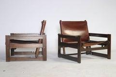 Brazilian Modern Jacaranda and Saddle Leather Sling Chairs