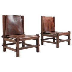 Brazilian Modern Lounge Chairs in Solid Jacaranda