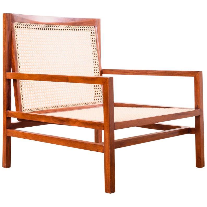 Brazilian Modern Pair of Cane Lounge Chairs by Joaquim Tenreiro, Early 1960s