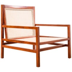 Brazilian Modern Pair of Cane Lounge Chairs by Joaquim Tenreiro, Early 1960s