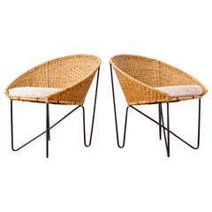 Brazilian Modern Pair of Lounge Chairs in Iron and Reed by Zanine Caldas, 1950s
