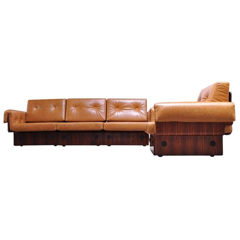 Brazilian Modern Rosewood and Leather Modular Sofa or Settees