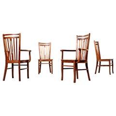 Brazilian Modern Solid Hardwood High Back Dining Chairs, circa 1960s