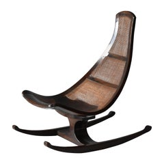 Brazilian Modernist Designer, Rocking Lounge Chair, Cane, Mahogany, 1970s