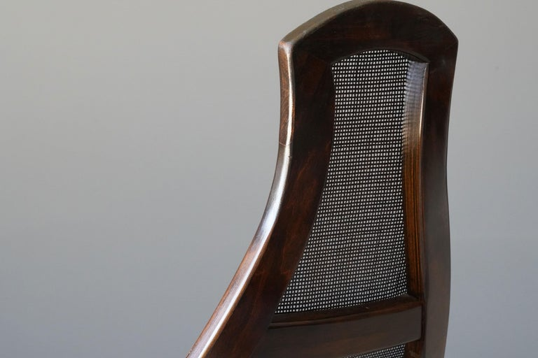 Brazilian Modernist Designer, Rocking Lounge Chairs, Cane, Mahogany, 1970s For Sale 2