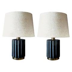 Brazilian Modernist Lamps in Ebonized Wood and Bronze